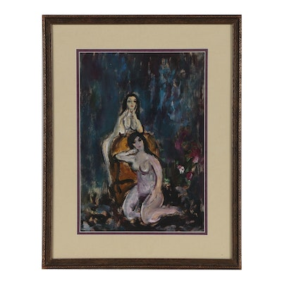 Modernist Oil Painting of Nude Figures
