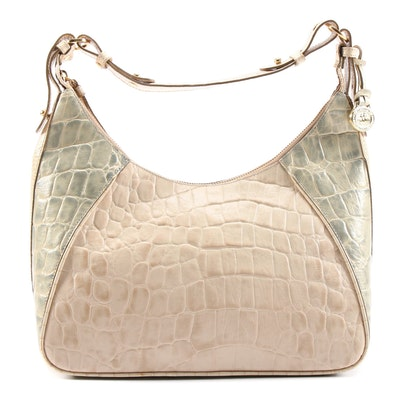 Brahmin Juliette Tricolor Embossed Leather Hobo Shoulder Bag