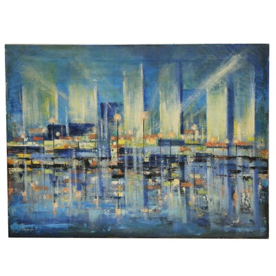 Modernist Cityscape Oil Painting, Mid 20th Century