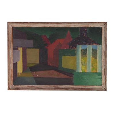 Abstract Architectural Landscape Oil Painting, Mid 20th Century