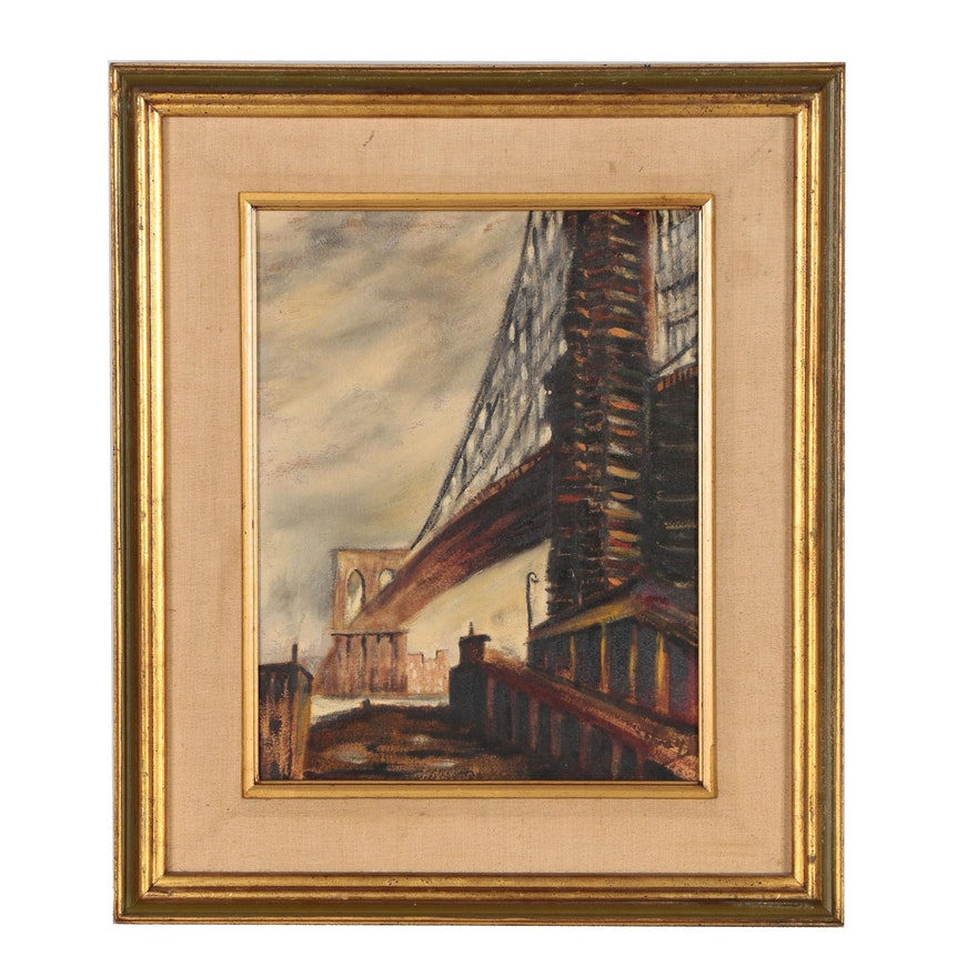 Urban Landscape Oil Painting, Mid 20th Century