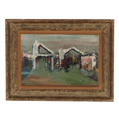 Roger Holt Industrial Landscape Oil Painting, Mid 20th Century