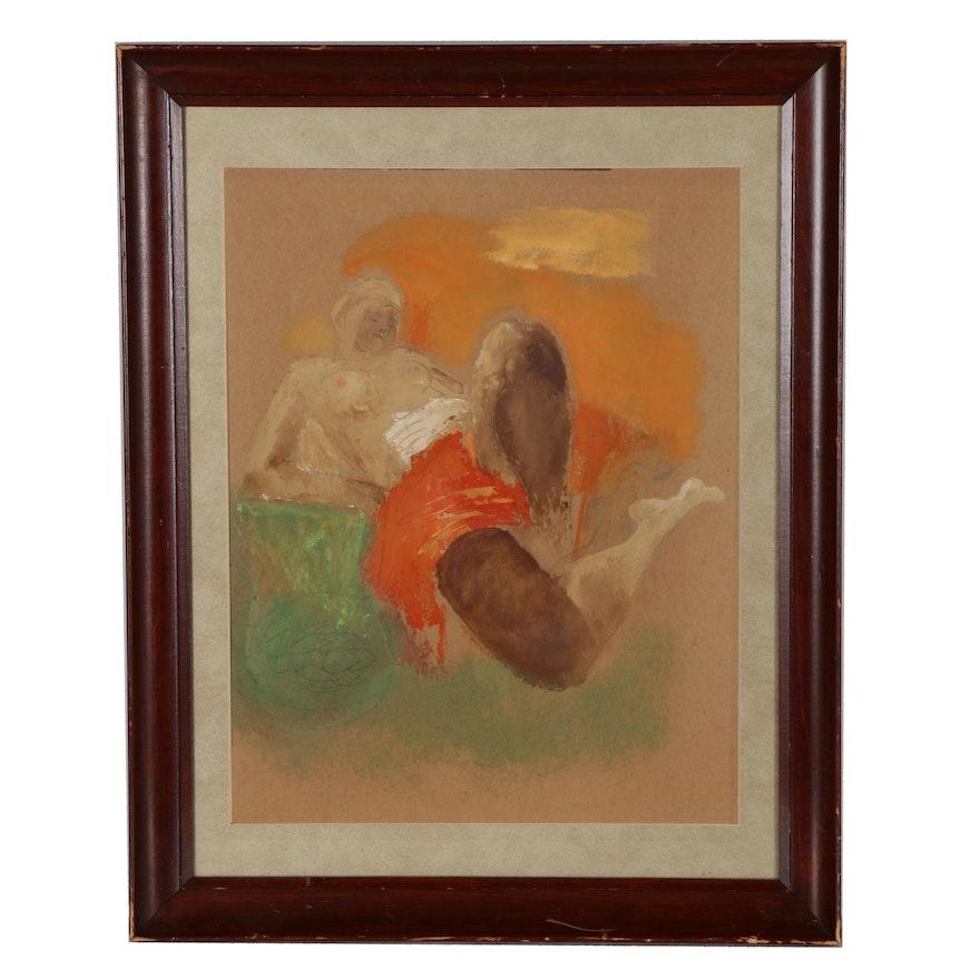 Nude Figure Oil Painting, Mid 20th Century