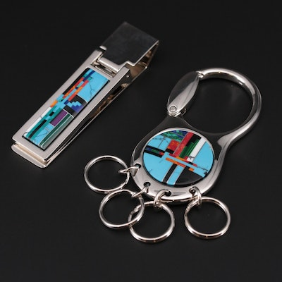 Turquoise, Lapis Lazuli, and Coral Mosaic Key Ring and Money Clip Set