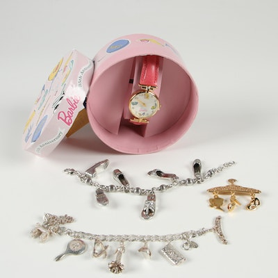 Barbie 35th Anniversary Fossil Watch with Barbie and Brighton Charm Jewelry