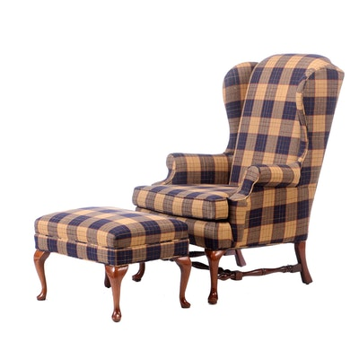 Lane Furniture Upholstered Wing Back Arm Chair with Ottoman, Late 20th Century