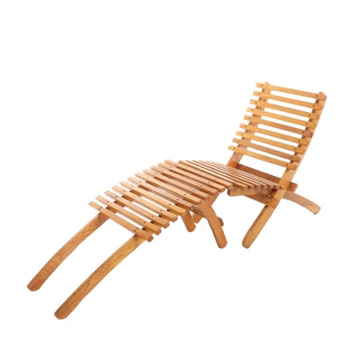 Oak Collapsible Sling Chair with Ottoman