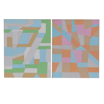 Abstract Geometric Acrylic Paintings, Contemporary