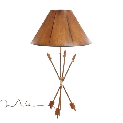 Western Themed Lamp with Faux Wood Grain Shade