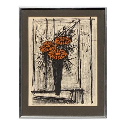 """Bernard Buffet Color Lithograph """"Les Fleurs"""", Mid-20th Century"""