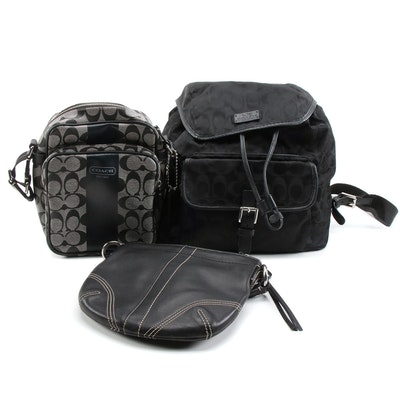 Coach Signature Coated Canvas and Leather Backpack and Shoulder Bags