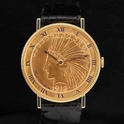 Paul Ditisheim 18K Gold Stem Wind Coin Watch