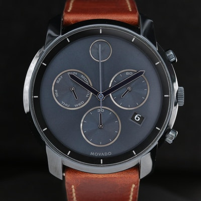 Movado Bold Stainless Steel and Ion Plated Chronograph Wristwatch With Date