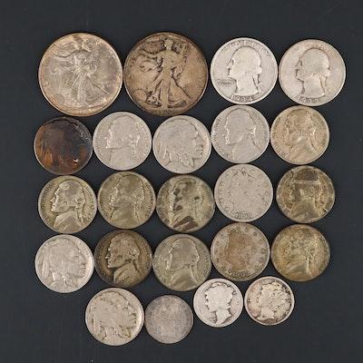 Twenty-Three Vintage U.S. Coins, Including Many Silver Coins