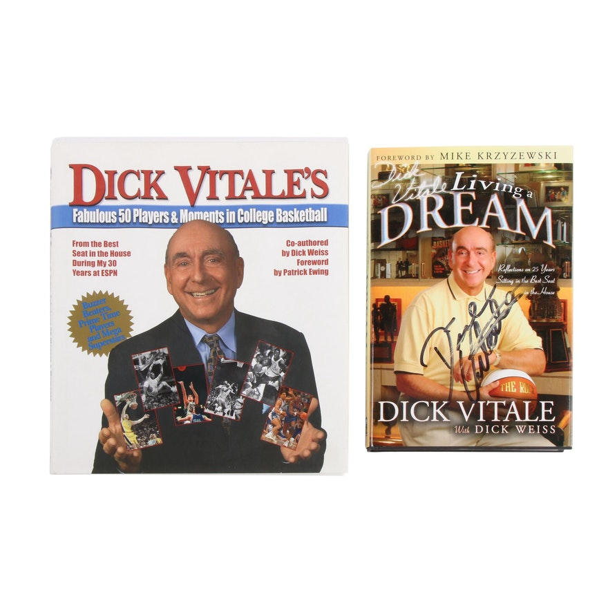 """Dick Vitale Signed Books featuring First Edition """"Living a Dream"""""""