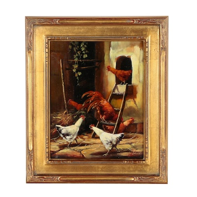 Oil Painting of Farmyard Scene with Chickens