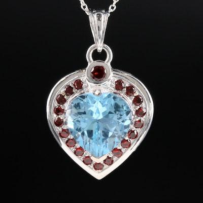 Sterling Silver Blue Topaz and Garnet Pendant Necklace