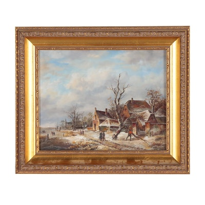 Winter Rural Landscape Oil Painting, 20th Century