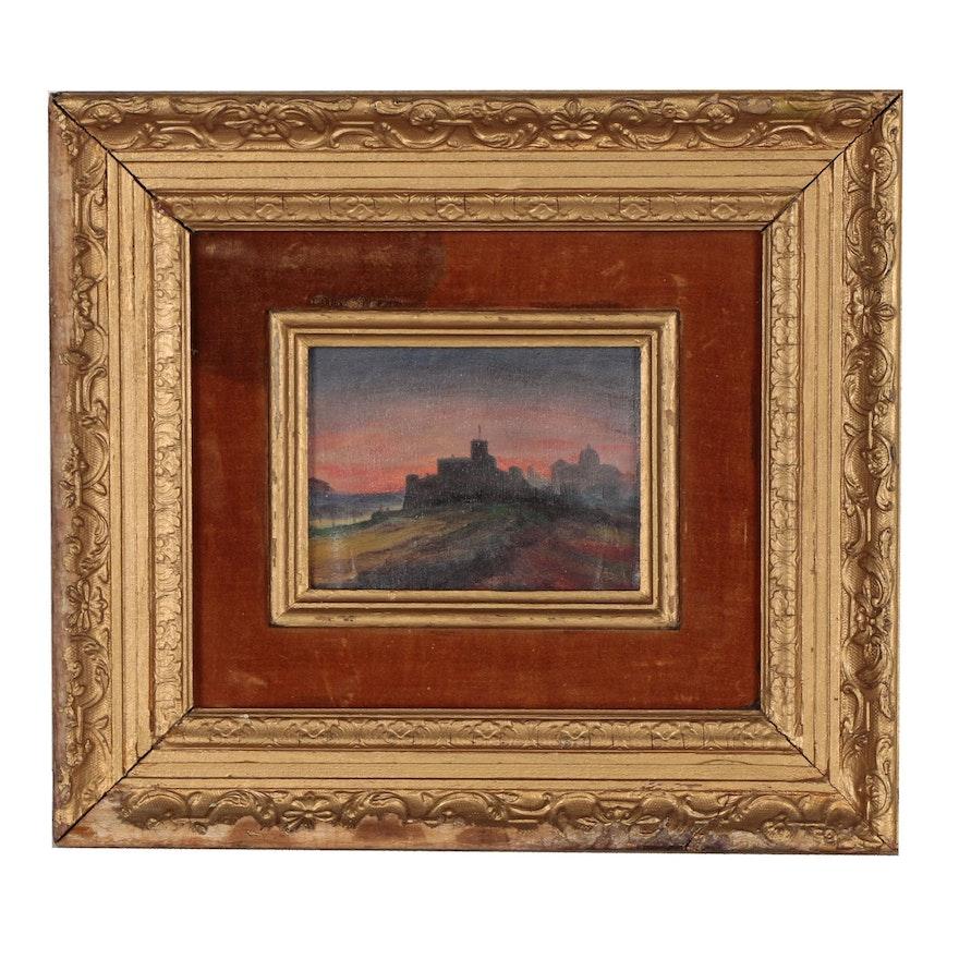 Castle Landscape Oil Painting, 20th Century