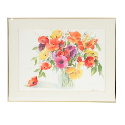 "Bess Alexander Watercolor Painting ""Silk Flowers #2"""