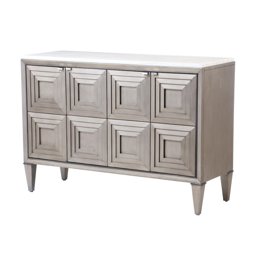Marble-Topped Cabinet with Concentric Square Paneled Doors, Contemporary