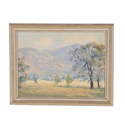 Mountain Landscape Oil Painting, Mid 20th Century