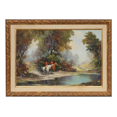 Landscape with Fox Hunters Oil Painting, Mid 20th Century