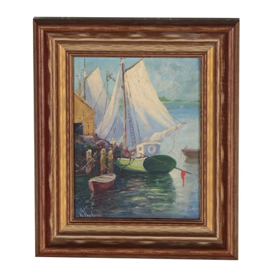 Kate Noland Oil Painting of Harbor Scene