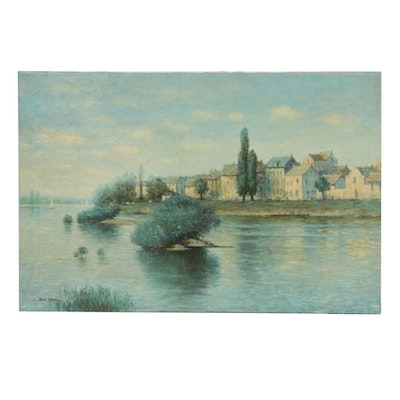 Impressionist Style River Scene Oil Painting, Mid-20th Century