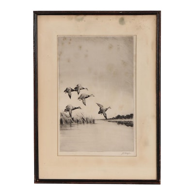 J.D. Knap Drypoint Etching of Ducks in Flight