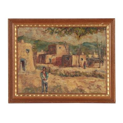 """Oil Painting of Pueblo Architecture """"Taos"""""""