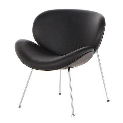 "Matrix Imports ""Spyder"" Faux Leather Chrome Finish Lounge Chair, Contemporary"