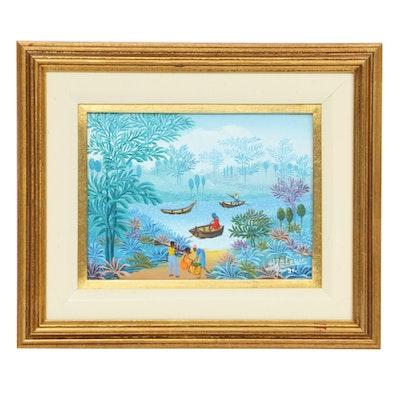 Henri Jean-Louis Haitian Landscape Oil Painting, 1991