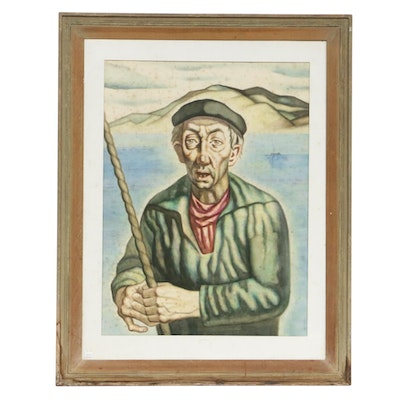 Fisherman Portrait Watercolor Painting, Early to Mid-20th Century