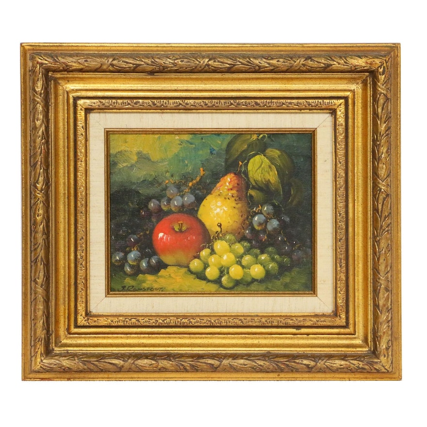 Still Life of Fruit Oil Painting, Late 20th Century
