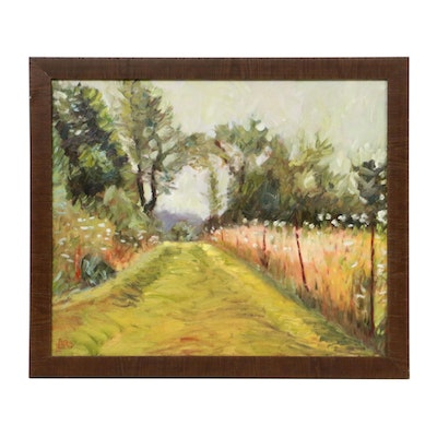 L. Lord Country Path Landscape Oil Painting