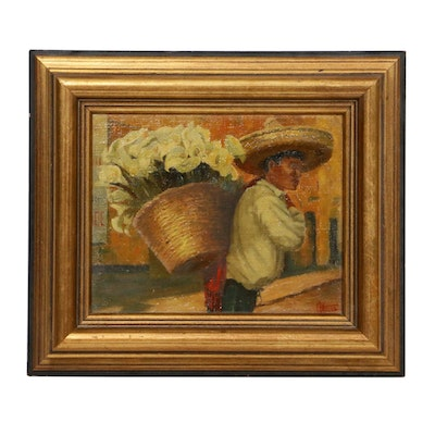 Mexican Calla Lilies Merchant Oil Painting, Mid-20th Century