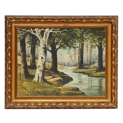 Forest Creek Landscape Oil Painting, Early 20th Century