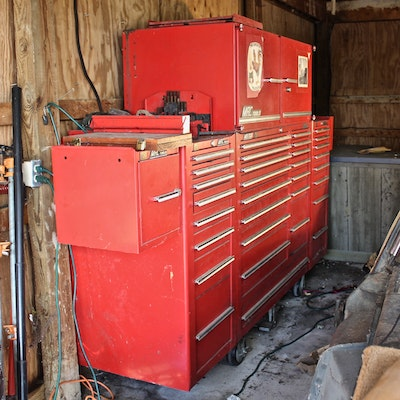 Red Metal Mac MB1700 Tool Cabinet and Tools