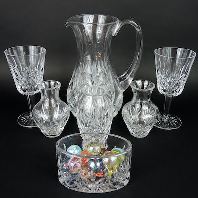 Waterford Crystal Bud Vase, Pitcher, and Wine Glasses