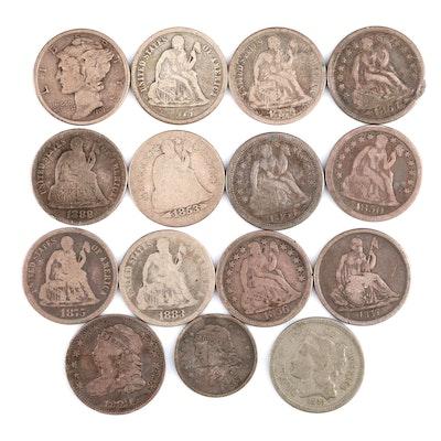 Fifteen U.S. Antique Coins