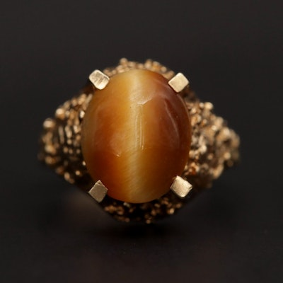 10K Yellow Gold Tiger's Eye Quartz Ring