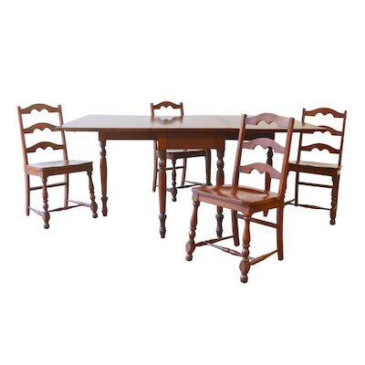 Triangle Brand Cherry Drop Leaf Gateleg Dining Table with Chairs, Mid-20th C.