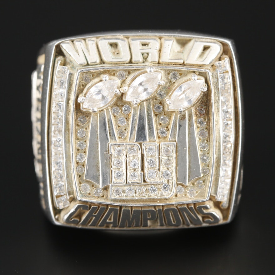 Sterling Silver Cubic Zirconia NFL Super Bowl Replica Ring