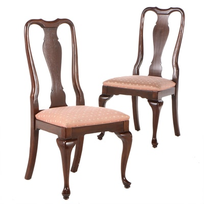Queen Anne Style Ethan Allen Upholstered Side Chairs, Late 20th Century