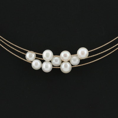 Vintage 14K Yellow Gold Cultured Pearl Triple Strand Necklace