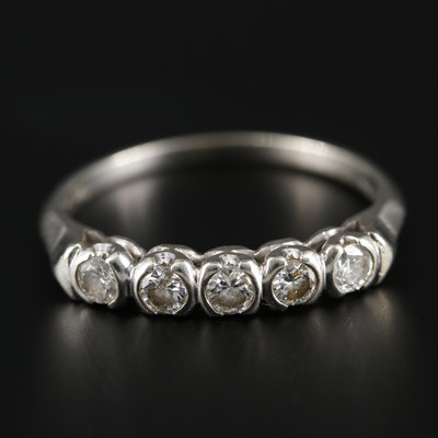 Vintage L. Udko & Son 14K Yellow Gold Diamond Ring with 18K White Gold Accents