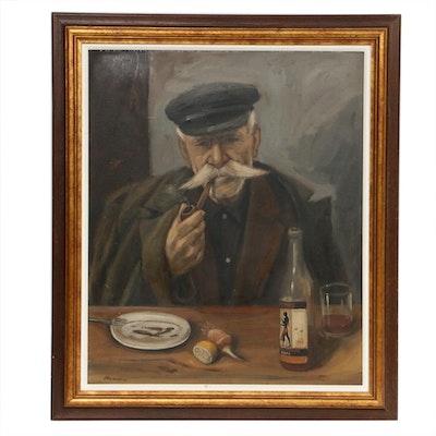 Oil Painting of Elderly Greek Man, Early 20th Century