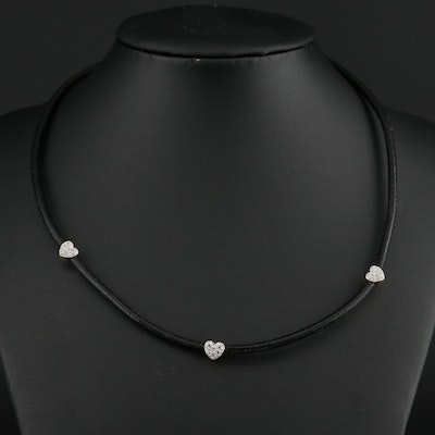 14K Yellow Gold Cubic Zirconia and Leather Heart Station Necklace