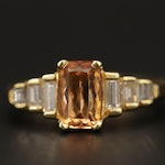 18K Yellow Gold Topaz and Diamond Ring With 14K Gold Adjustable Shank